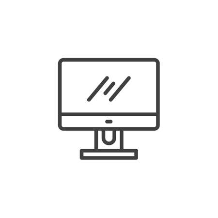 Computer monitor line icon. linear style sign for mobile concept and web design. Computer screen outline vector icon. Symbol, illustration. Vector graphics