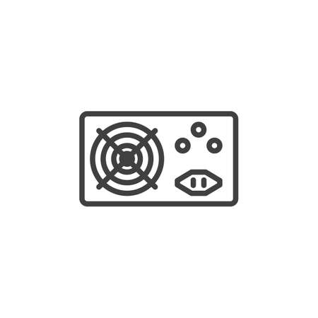 PC power supply line icon. linear style sign for mobile concept and web design. Computer power supply unit outline vector icon. Symbol, illustration. Vector graphics
