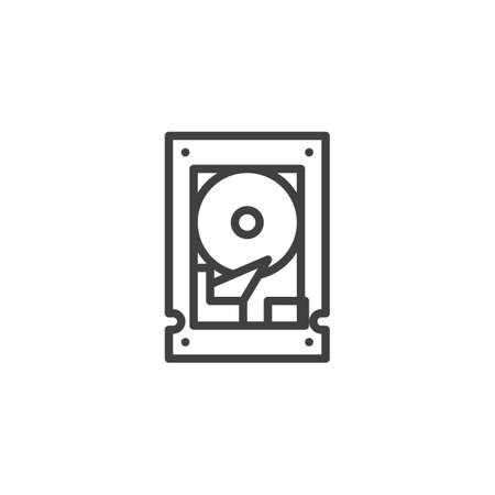 Hard disk line icon. linear style sign for mobile concept and web design. HDD outline vector icon. Symbol, illustration. Vector graphics