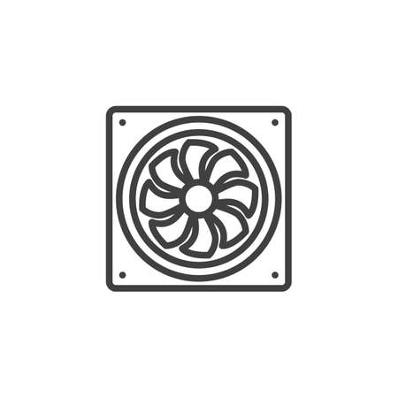 Computer fan line icon. linear style sign for mobile concept and web design. PC cooler outline vector icon. Symbol, illustration. Vector graphics