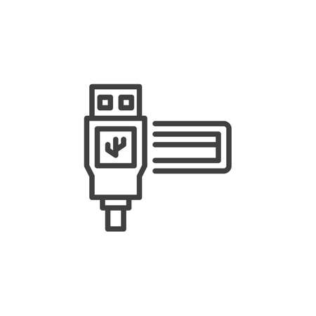 USB port line icon. linear style sign for mobile concept and web design. Usb plug outline vector icon. Symbol, illustration. Vector graphics