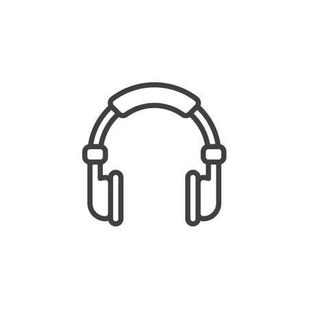 Headphones line icon. linear style sign for mobile concept and web design. Headphone outline vector icon. Symbol, illustration. Vector graphics Ilustração