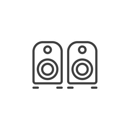 Computer speakers line icon. linear style sign for mobile concept and web design. Stereo speakers outline vector icon. Symbol, illustration. Vector graphics
