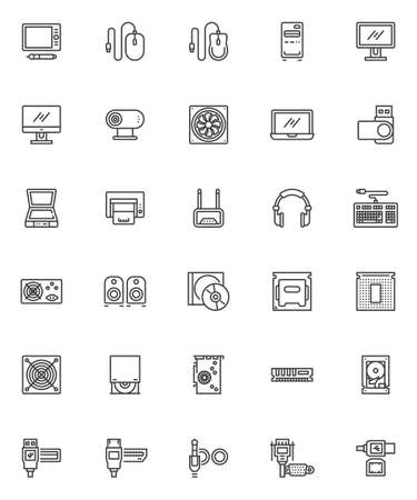 Computer hardware line icons set. linear style symbols collection, outline signs pack. vector graphics. Set includes icons as hard disk, usb, laptop computer, cpu microchip, power unit, pc mouse Ilustração