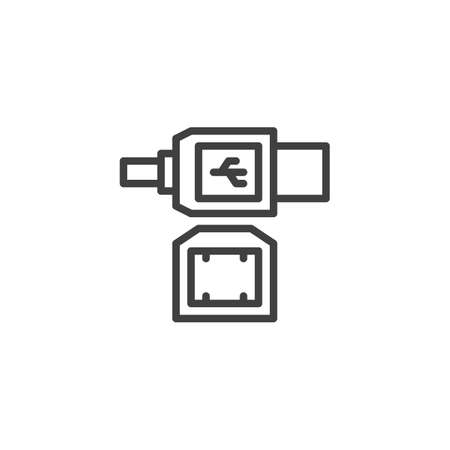 LAN cable plug line icon. linear style sign for mobile concept and web design. Ethernet connectors and socket outline vector icon. Symbol, illustration. Vector graphics