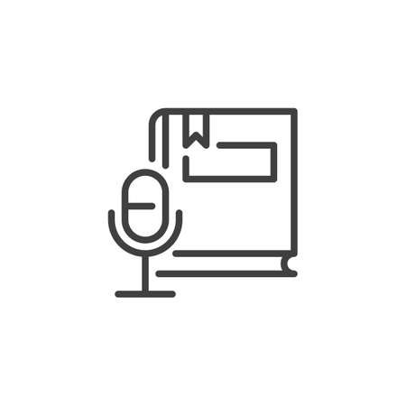 Audio book line icon. linear style sign for mobile concept and web design. Book and microphone outline vector icon. Symbol,  illustration. Vector graphics