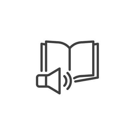 E-book listening line icon. linear style sign for mobile concept and web design. Audio book speaker outline vector icon. Symbol,  illustration. Vector graphics