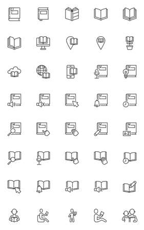 Reading book line icons set. Knowledge education linear style symbols collection, outline signs pack. E-learning vector graphics. Set includes icons as ebook, audiobook, book with bookmark, textbook 向量圖像