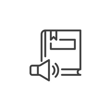 Audio book line icon. linear style sign for mobile concept and web design. Book and speaker outline vector icon. Symbol,   illustration. Vector graphics