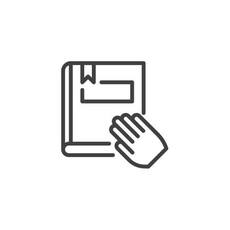 Book and hand line icon. linear style sign for mobile concept and web design. Reading book outline vector icon. Symbol,  illustration. Vector graphics 向量圖像
