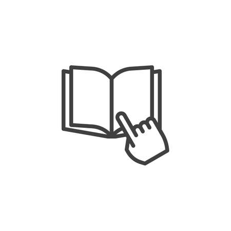 Reading book line icon. linear style sign for mobile concept and web design. Finger pointing book outline vector icon. Symbol,  illustration. Vector graphics
