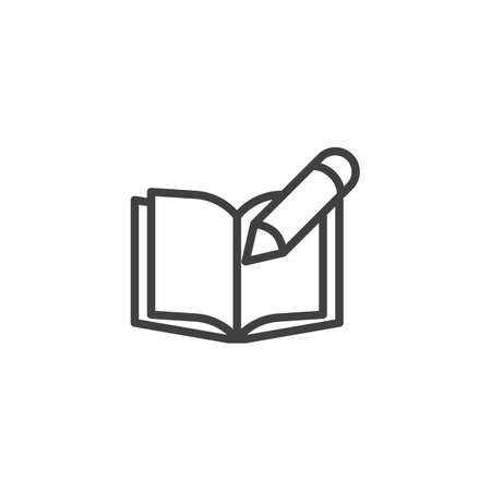 Writing book line icon. linear style sign for mobile concept and web design. Open Book and Pencil outline vector icon. Symbol,  illustration. Vector graphics