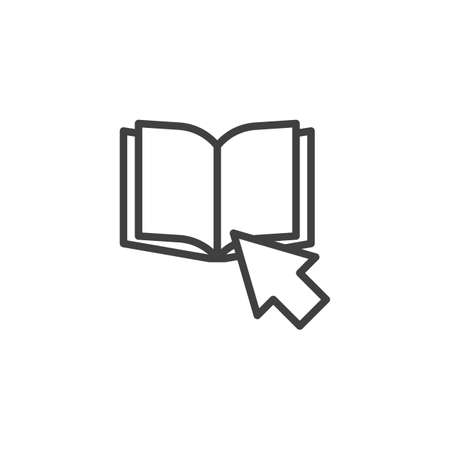 Click on Book line icon. linear style sign for mobile concept and web design. Book cursor arrow outline vector icon. Symbol,  illustration. Vector graphics 向量圖像