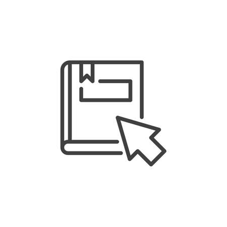 Online education line icon. linear style sign for mobile concept and web design. eBook with mouse cursor outline vector icon. Symbol,  illustration. Vector graphics 向量圖像