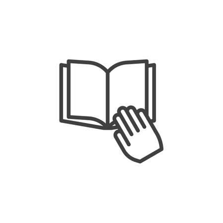 Hand holding book line icon. linear style sign for mobile concept and web design. Reading book outline vector icon. Knowledge, education symbol,  illustration. Vector graphics 向量圖像