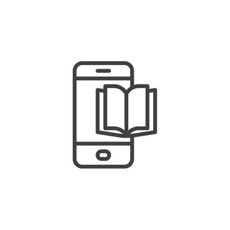 Phone book line icon. linear style sign for mobile concept and web design. Mobile ebook outline vector icon. Symbol,  illustration. Vector graphics 向量圖像