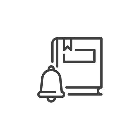 Education, knowledge line icon. linear style sign for mobile concept and web design. eBook notification bell outline vector icon. Symbol,   illustration. Vector graphics 向量圖像