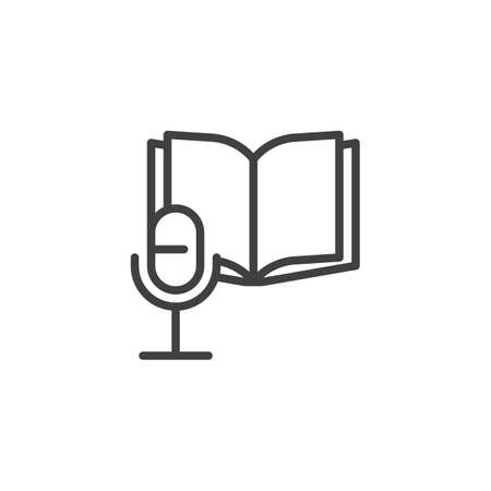 Audio book line icon. linear style sign for mobile concept and web design. Open book and microphone outline vector icon. Symbol,  illustration. Vector graphics 向量圖像