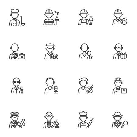 People profession line icons set, outline vector symbol collection, linear style pictogram pack. Signs,  illustration. Set includes icons as men and women people workers, professional work uniform Illustration