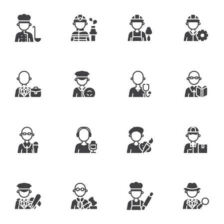People profession vector icons set, modern solid symbol collection, filled style pictogram pack. Signs,  illustration. Set includes icons as men and women people workers, professional work uniform Illustration