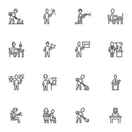 Working people line icons set, outline vector symbol collection, linear style pictogram pack. Signs,  illustration. Set includes icons as people professions, farmer, office worker, doctor, lawyer Illustration