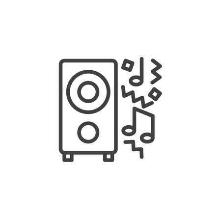 Party music line icon. linear style sign for mobile concept and web design. Audio speaker and music note outline vector icon. Symbol,  illustration. Vector graphics