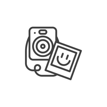 Camera and photo card line icon. linear style sign for mobile concept and web design. Photography camera outline vector icon. Symbol,  illustration. Vector graphics