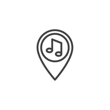 Party location pin line icon. linear style sign for mobile concept and web design. Map maker with music note outline vector icon. Symbol,  illustration. Vector graphics