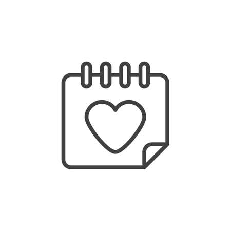 Valentines day calendar line icon. linear style sign for mobile concept and web design. Calendar with heart outline vector icon. Symbol,  illustration. Vector graphics Ilustracja