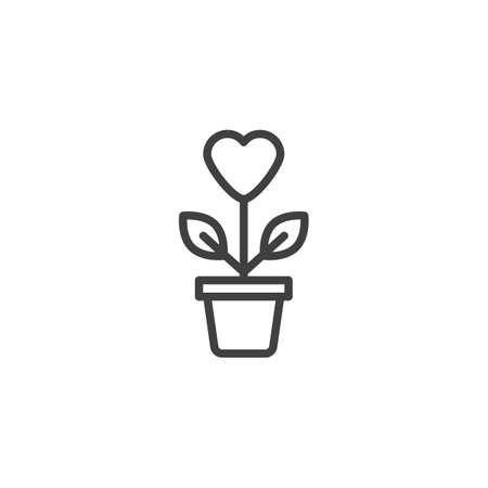 Heart shaped flower line icon. linear style sign for mobile concept and web design. Valentines day flower pot outline vector icon. Symbol,  illustration. Vector graphics
