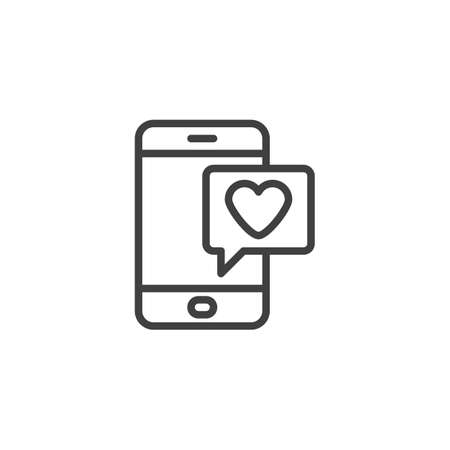 Valentines day message line icon. linear style sign for mobile concept and web design. Mobile phone with heart speech bubble outline vector icon. Symbol,   illustration. Vector graphics Ilustracja