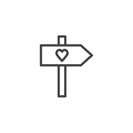 Valentines day signpost line icon. linear style sign for mobile concept and web design. Signpost with heart outline vector icon. Symbol,  illustration. Vector graphics