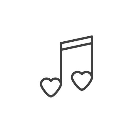 Romantic music line icon. linear style sign for mobile concept and web design. Music note with hearts outline vector icon. Symbol,  illustration. Vector graphics