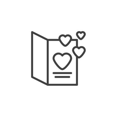 Valentines day card line icon. linear style sign for mobile concept and web design. Postcard with hearts outline vector icon. Symbol,  illustration. Vector graphics