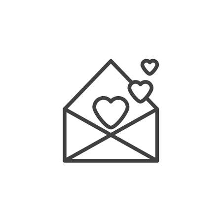 Valentines day mail line icon. linear style sign for mobile concept and web design. Open envelope with hearts outline vector icon. Symbol,  illustration. Vector graphics Ilustracja