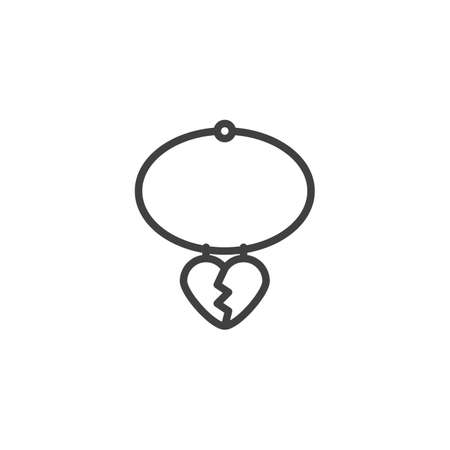 Heart necklace line icon. linear style sign for mobile concept and web design. Pendant hearts outline vector icon. Symbol,  illustration. Vector graphics