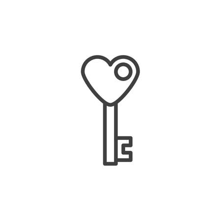 Heart key line icon. linear style sign for mobile concept and web design. Valentines day heart key outline vector icon. Symbol,  illustration. Vector graphics