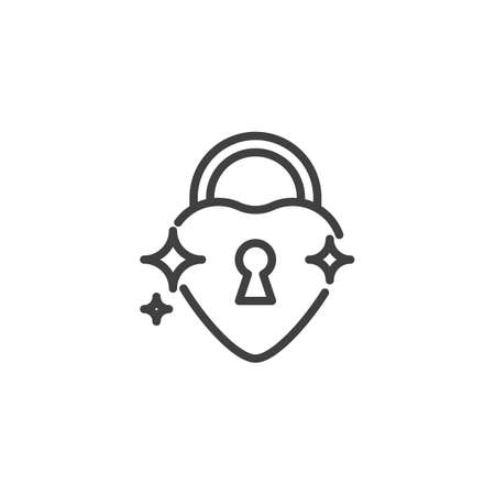 Love lock line icon. linear style sign for mobile concept and web design. Valentines day Heart Lock outline vector icon. Symbol,  illustration. Vector graphics Ilustracja
