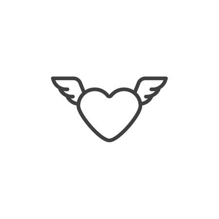 Valentines day wings heart line icon. linear style sign for mobile concept and web design. Heart with wings outline vector icon. Love symbol,   illustration. Vector graphics Ilustracja