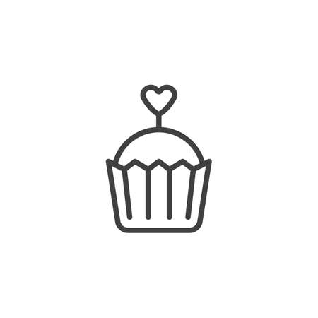 Valentines day cupcake line icon. linear style sign for mobile concept and web design. Muffin with heart outline vector icon. Symbol,  illustration. Vector graphics Ilustracja