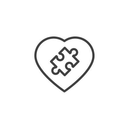 Heart puzzle line icon. linear style sign for mobile concept and web design. Valentine day heart with puzzle outline vector icon. Symbol,  illustration. Vector graphics