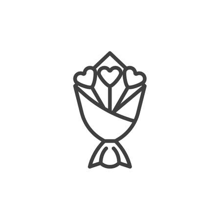 Heart flower bouquet line icon. linear style sign for mobile concept and web design. Valentines day flowers outline vector icon. Symbol, logo illustration. Vector graphics