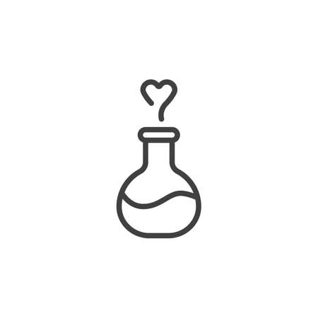 Love potion line icon. linear style sign for mobile concept and web design. Love elixir with heart outline vector icon. Symbol, logo illustration. Vector graphics Ilustracja