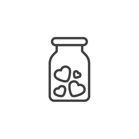 Mason jar with hearts line icon. linear style sign for mobile concept and web design. Valentines Day hearts jar outline vector icon. Symbol, logo illustration. Vector graphics Ilustracja