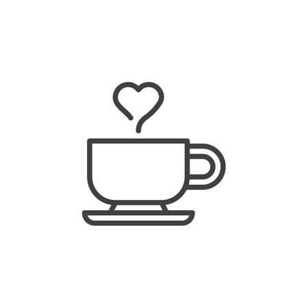 Valentines day coffee line icon. linear style sign for mobile concept and web design. Coffee cup with heart outline vector icon. Symbol, logo illustration. Vector graphics Ilustracja