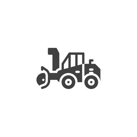 Snow cleaning machine vector icon. filled flat sign for mobile concept and web design. Snow removal truck glyph icon. Symbol, illustration. Vector graphics
