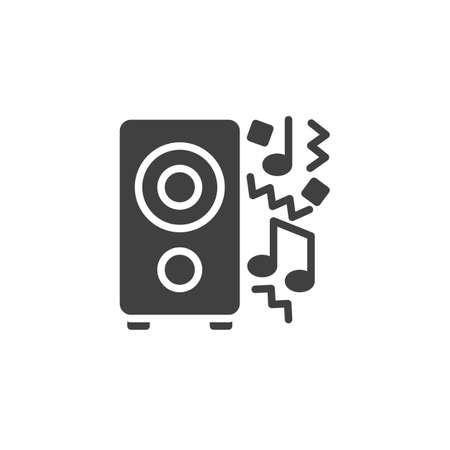 Party music vector icon. filled flat sign for mobile concept and web design. Audio speaker and music note glyph icon. Symbol, illustration. Vector graphics Çizim