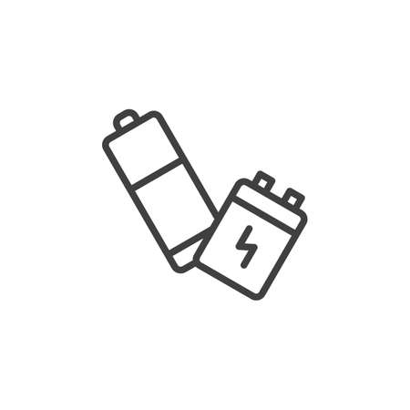 Used batteries line icon. linear style sign for mobile concept and web design. Battery outline vector icon. Symbol, illustration. Vector graphics