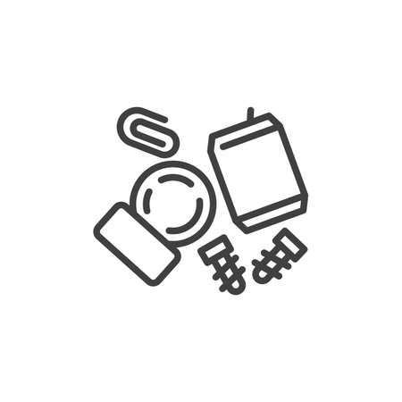 Recycling metal scrap line icon. linear style sign for mobile concept and web design. Metal waste outline vector icon. Symbol, illustration. Vector graphics Vektorové ilustrace