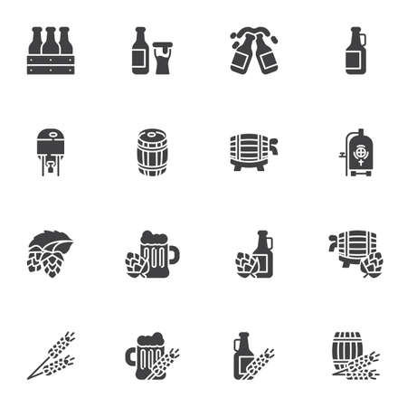 Brewery beer vector icons set, modern solid symbol collection, filled style pictogram pack. Signs, logo illustration. Set includes icons as craft beer bottle, barrel cask, pint glass, hop, barley